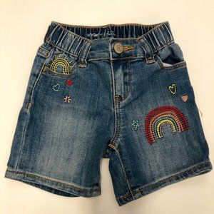Baby Gap Rainbow Embroidered Shortie Jean Shorts